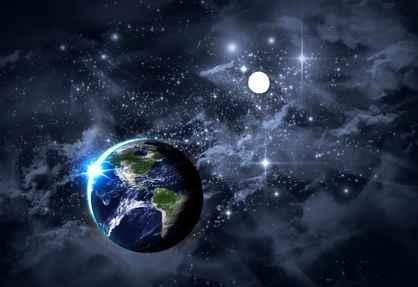 La Terre en premier plan, et au loin, la planète Pluton naviguant aux confins du système solaire